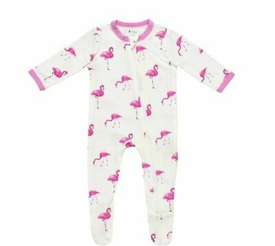Kyte Zippered Footie - Flamingo