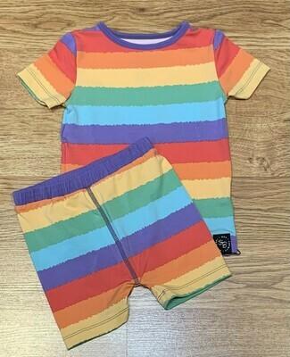 Sweet Bamboo Girls Summer Pj's Rainbow Stripe