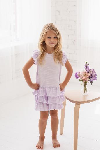 Isobella and Chloe Purple Ruffle Knit Dress