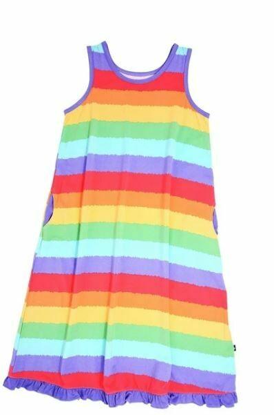 Sweet Bamboo Boho Dress- Rainbow Stripe