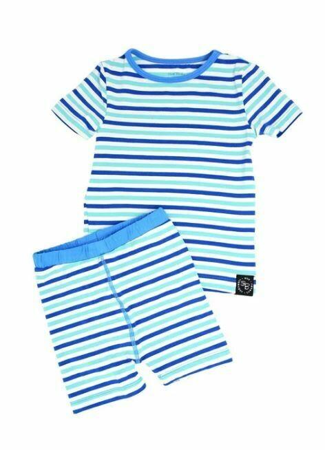 Sweet Bamboo Summer Pj's Blue & Aqua Stripe