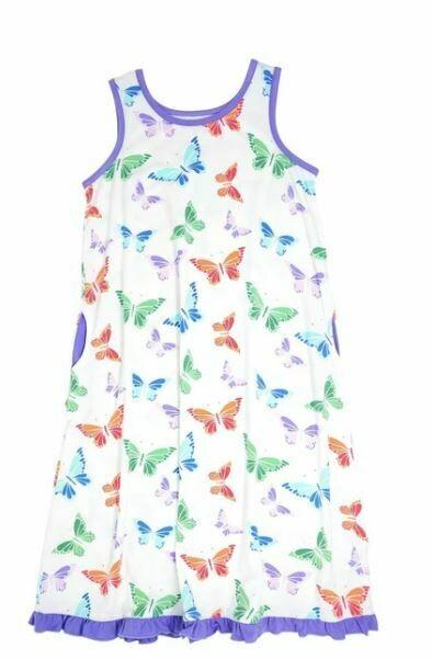Sweet Bamboo Boho Dress- Rainbow Butterflies