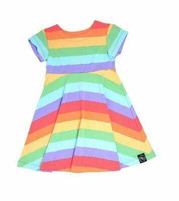 Sweet Bamboo Swirly Dress- Rainbow Stripe