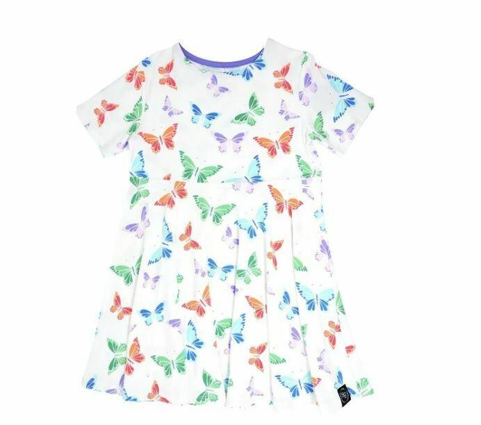 Sweet Bamboo Swirly Dress-Rainbow Butterflies