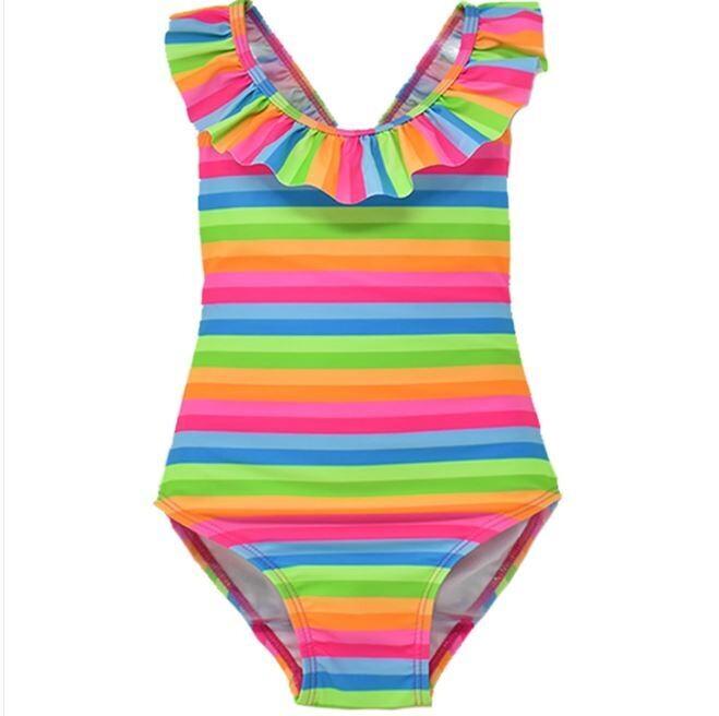 Flap Happy Mindy Crossback Swimsuit- Neon Stripe