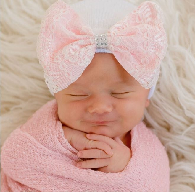 ILYBEAN Pink Lace Bow With Silver Rhinestones Beanie