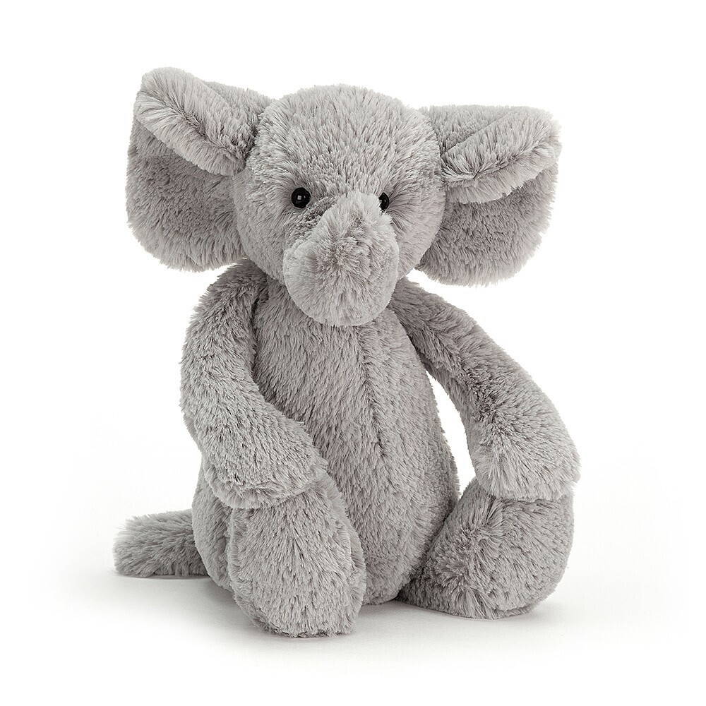 "Jellycat Bashful Silver Elephant Medium 12"""