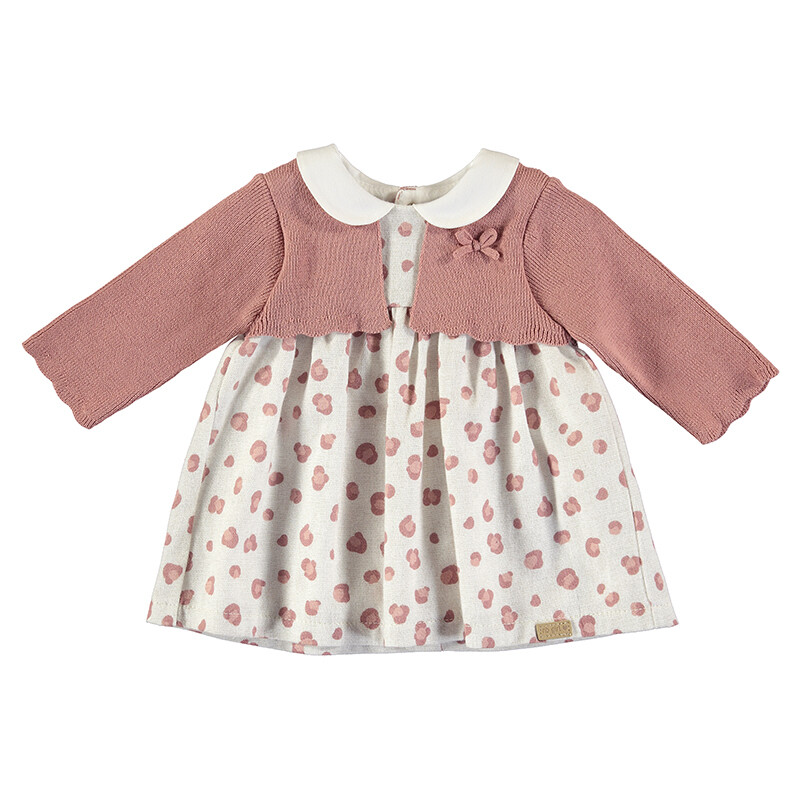 Mayoral Baby Girls Terracota Cardigan Dress 2805