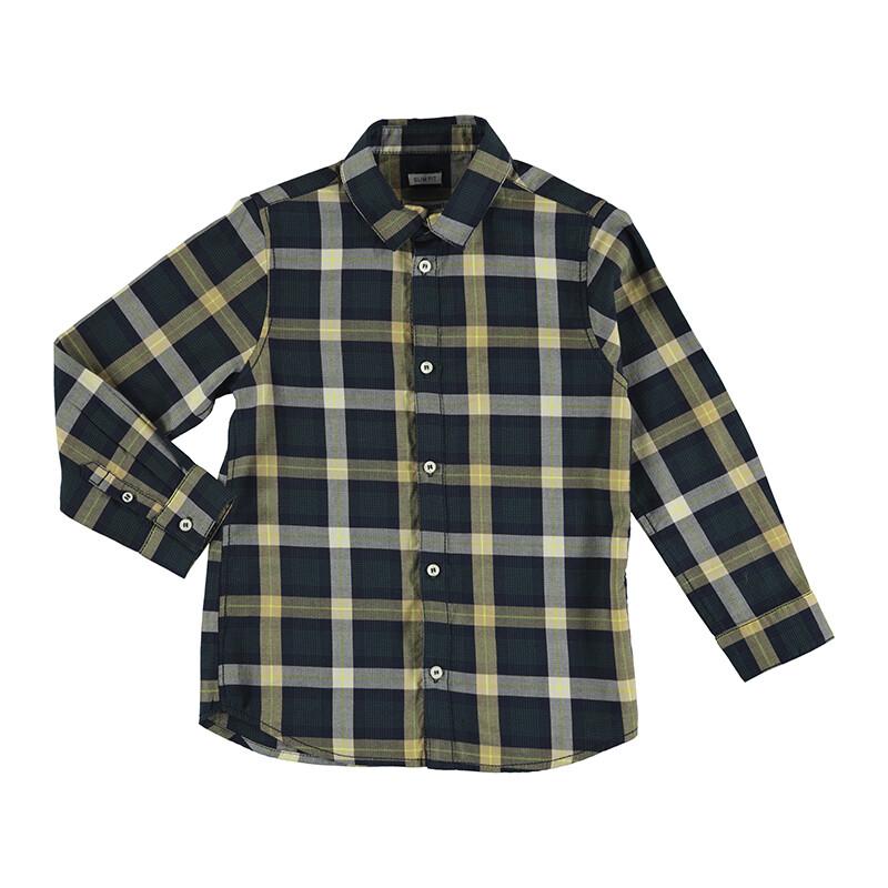 Mayoral Boys Navy L/S Plaid Shirt 4168