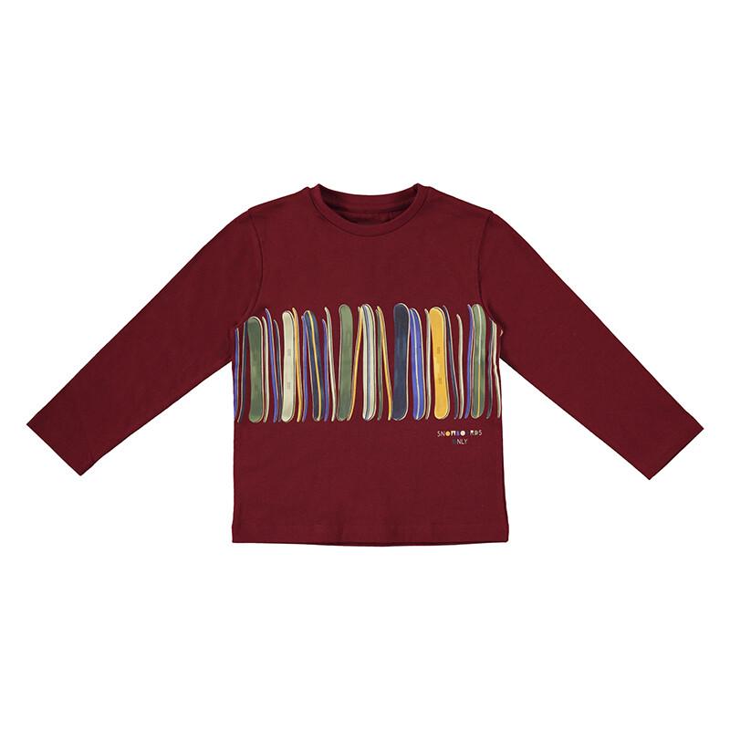 Mayoral Boys Maroon L/S Print Stripe Shirt 4079