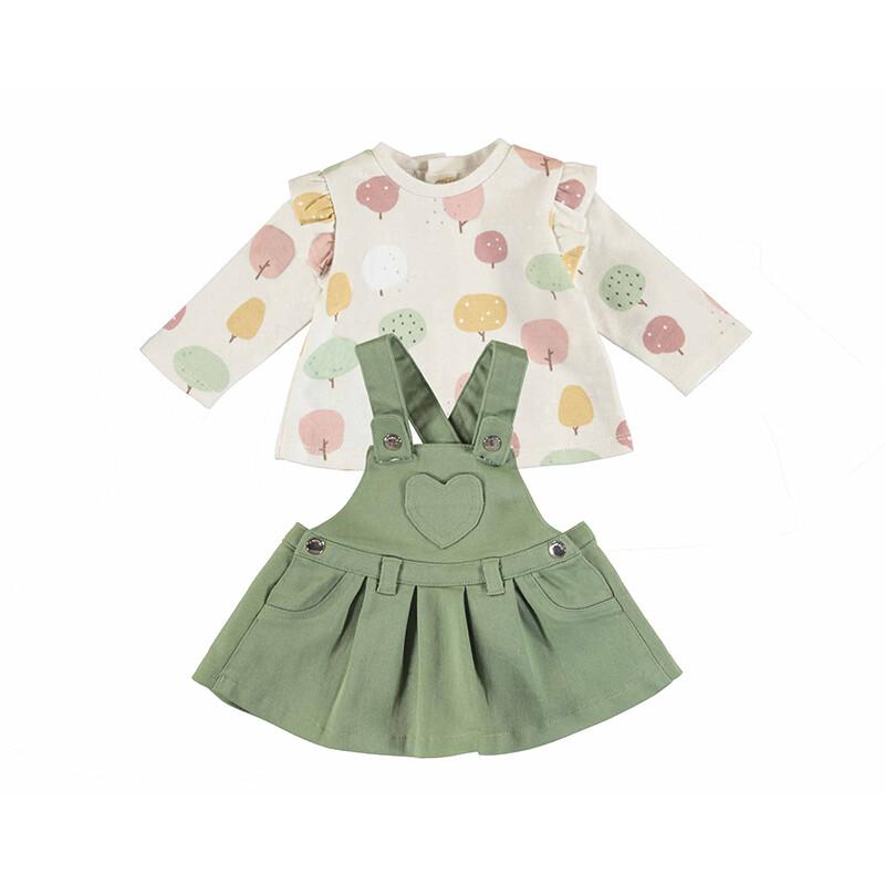 Mayoral Baby Girl Matcha Dungaree Skirt  Set 2825