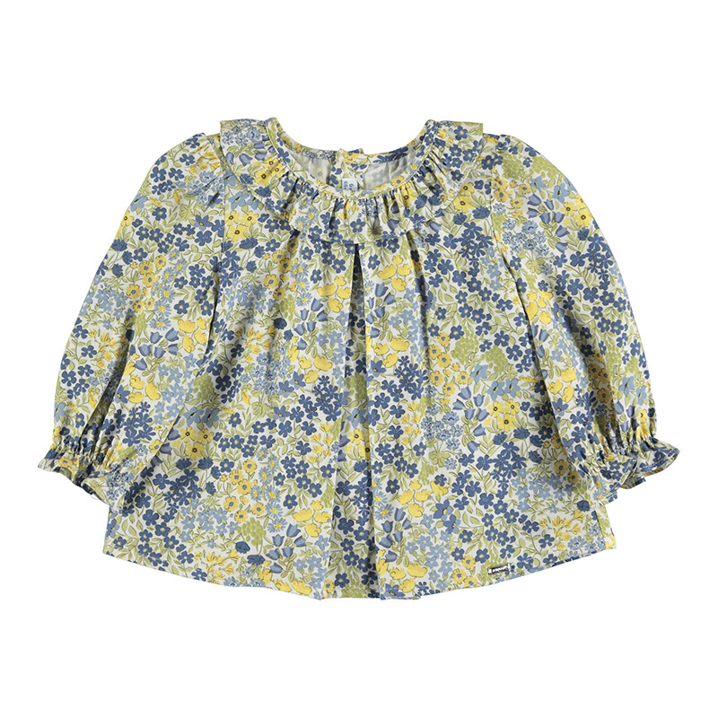 Mayoral Baby Girl Olive Printed Blouse 2151