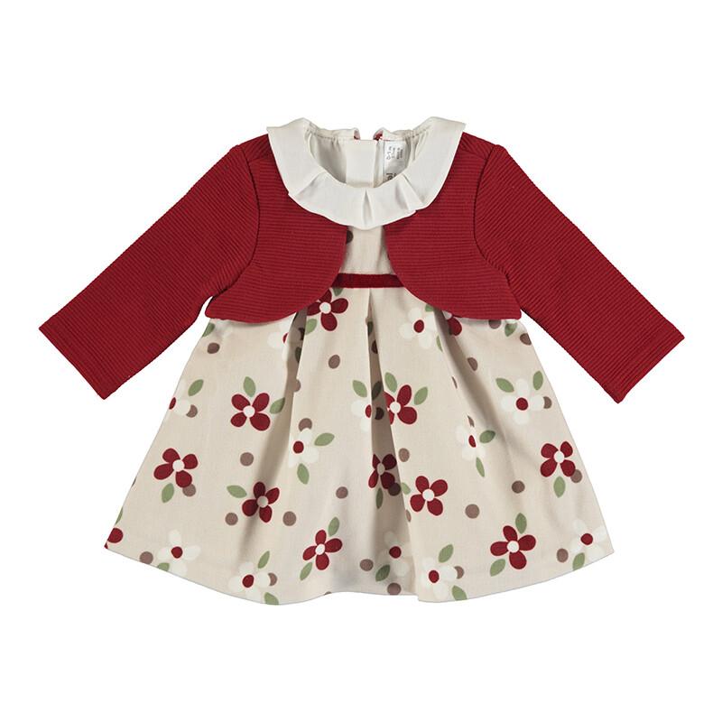 Mayoral Baby Girl Red Dress w/Cardigan 2820