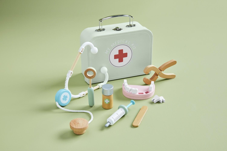 Mud Pie Medical Kit Wood Toy Set