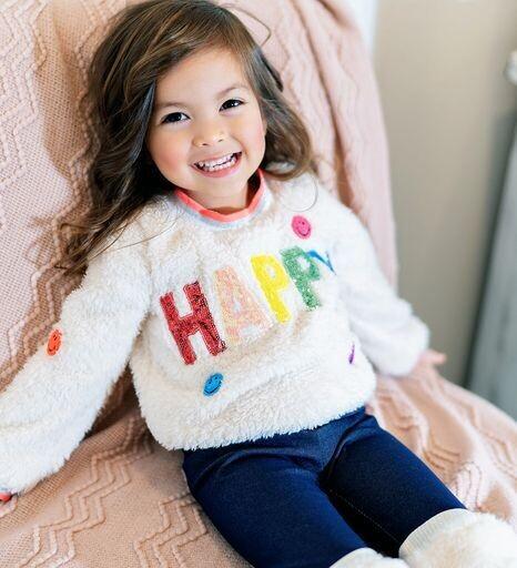 Baby Sara Girls Ivory Sherpa Top w/Happy Patch 27
