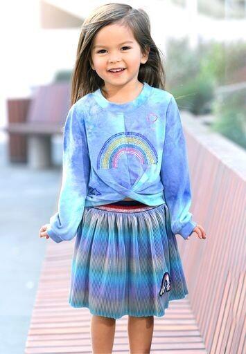 Baby Sara Girls Mini Pleat Skirt W/Rainbow Patch