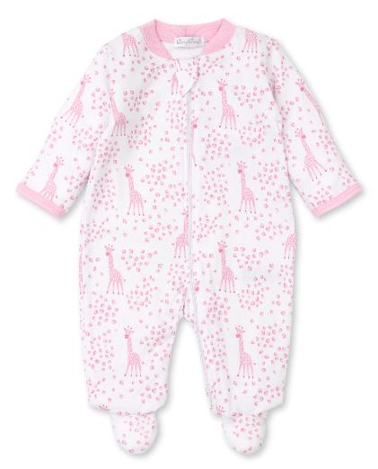 Kissy Pink Speckled Giraffes Footie w/Zip 07N