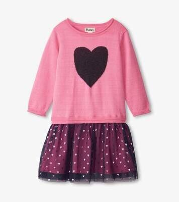 Hatley Glitter Heart Drop Waist Tuelle Dress 1272