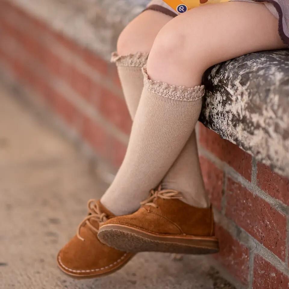 Little Stocking Oat Lace Top Socks