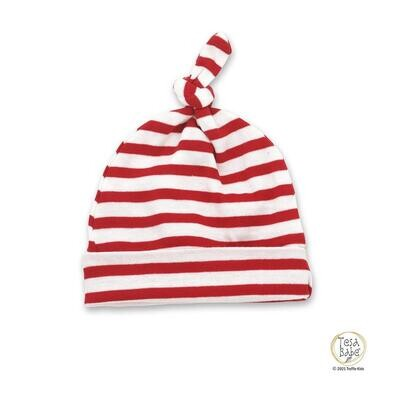 Tesa Babe Organic Red Striped Knotted Hat