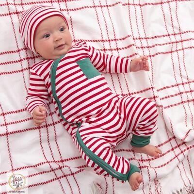 Tesa Babe Boy Red Stripe Christmas Zipper Romper