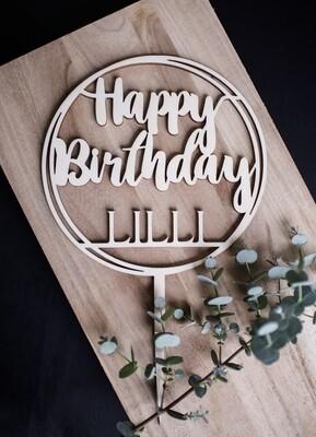 Caketopper Happy Birthday mit Wunschname