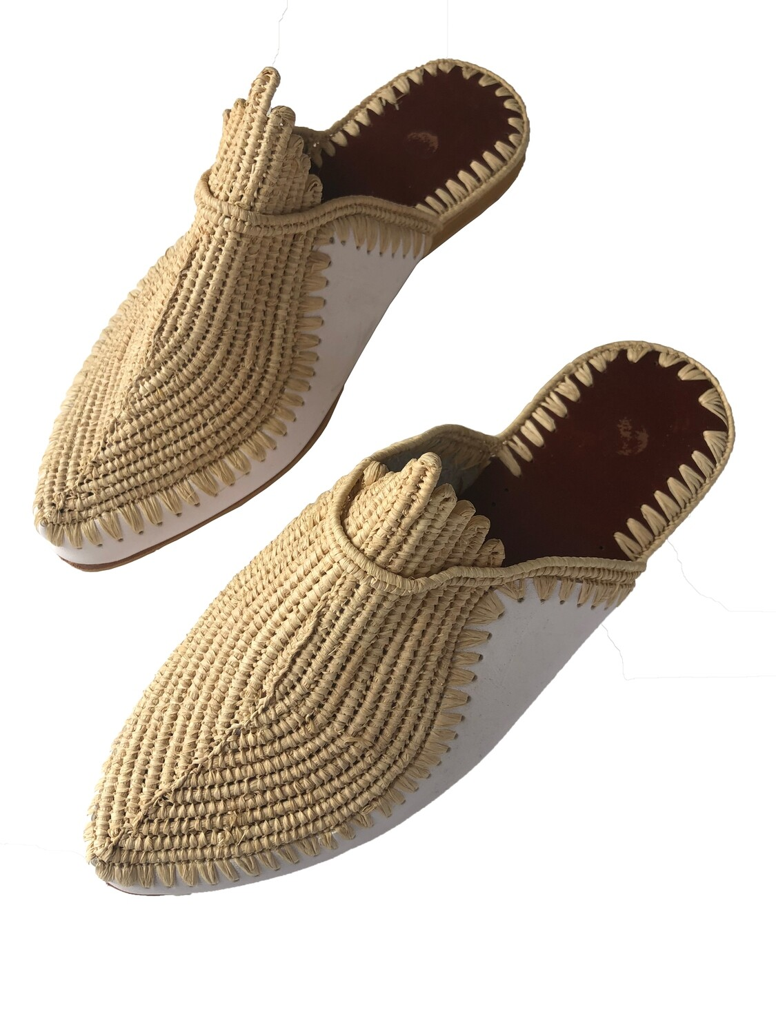Hand woven raffia slides white leather and natural