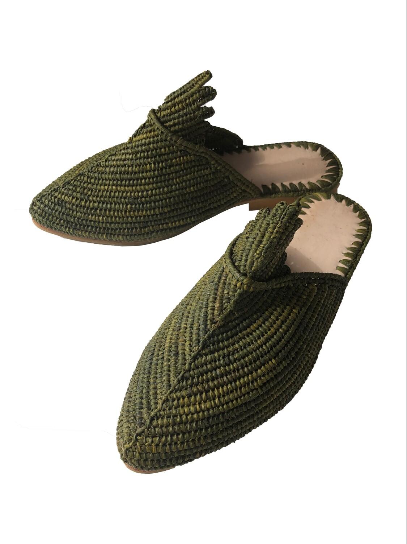 Moss green natural raffia slides