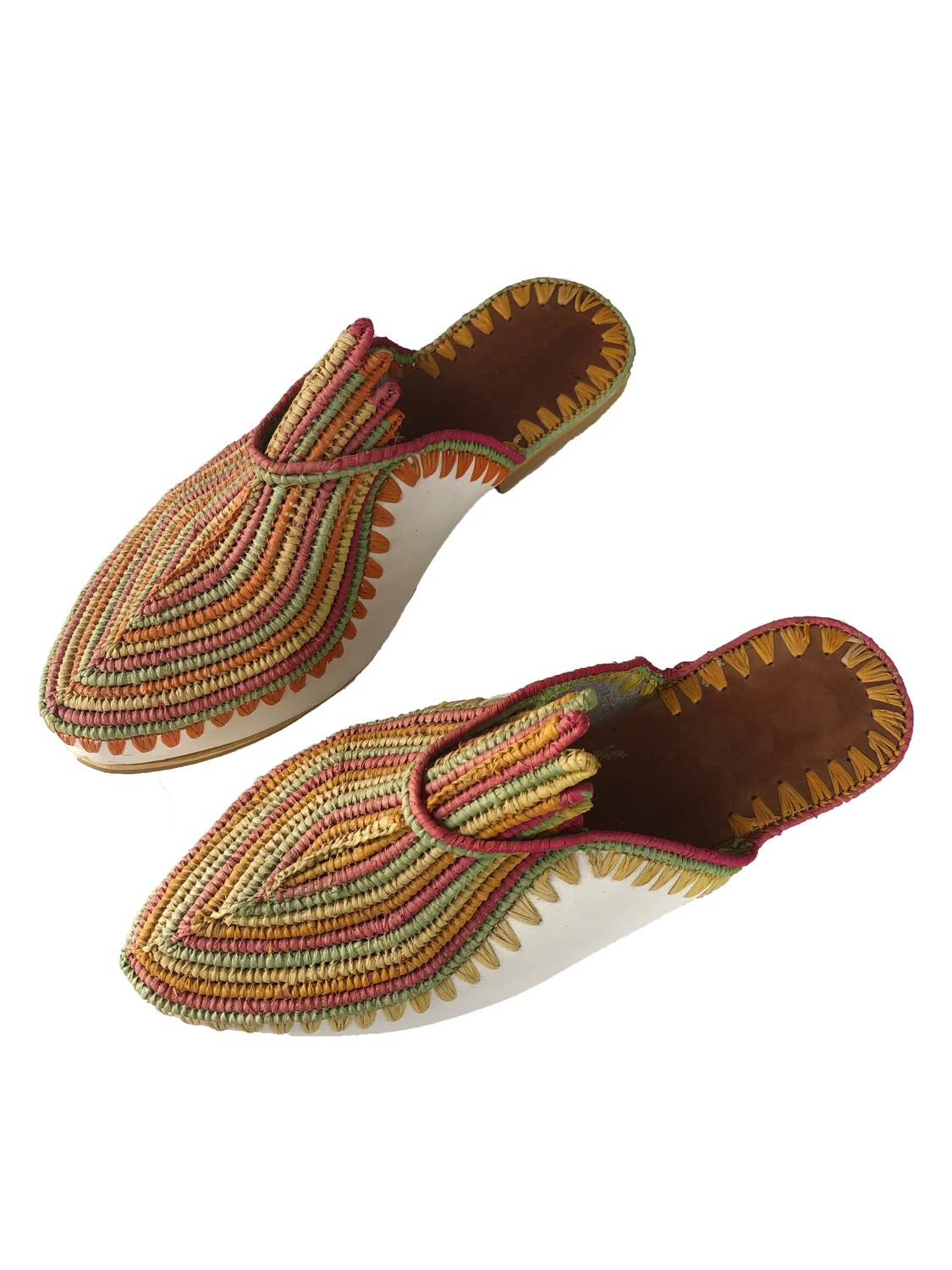 Rainbow stripe leather and raffia slides