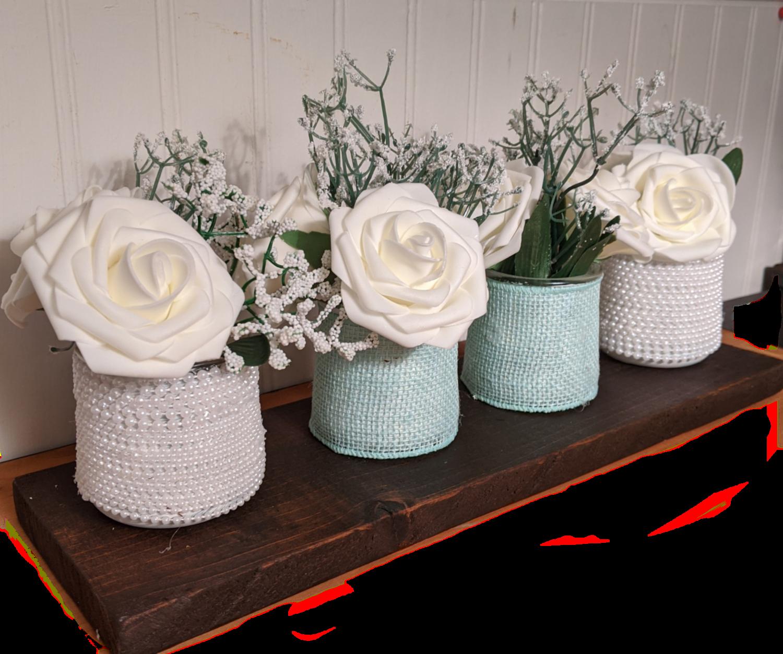 Glass Jar Silk Rose Centerpiece- Wood base attached