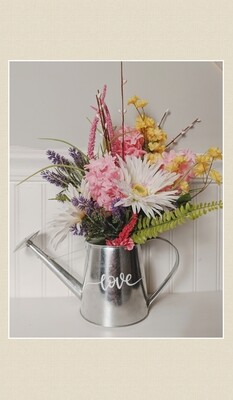 Silk Flower Watering Can Arrangement