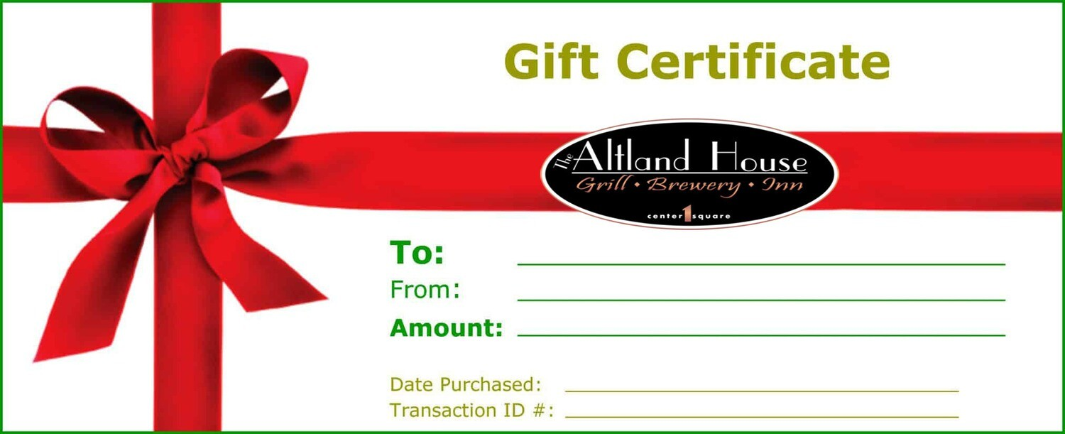 $75 Altland House Gift Certificate
