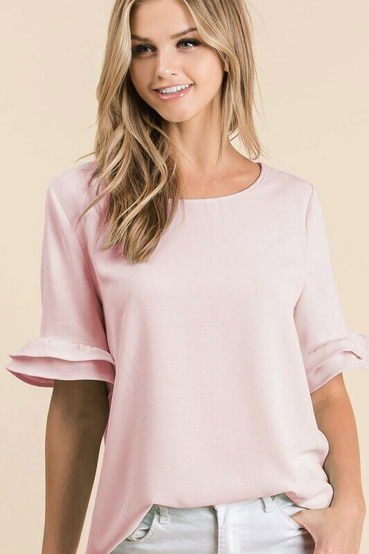 Blush Solid Top W/ Tired Sleeve