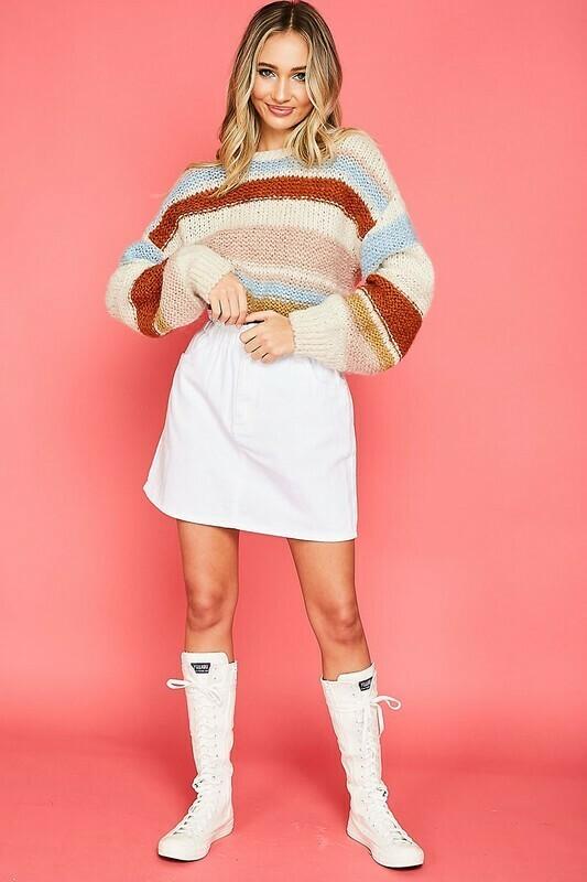 Ivory Multi Stripe Knit Sweater