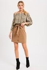 Mocha High-Waist Button Down Skirt