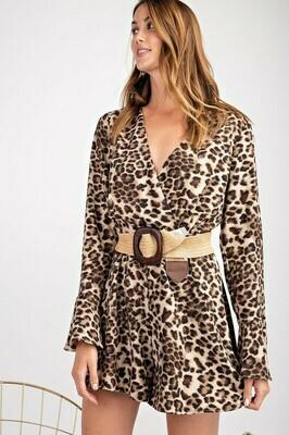 Long Sleeve Leopard Romper
