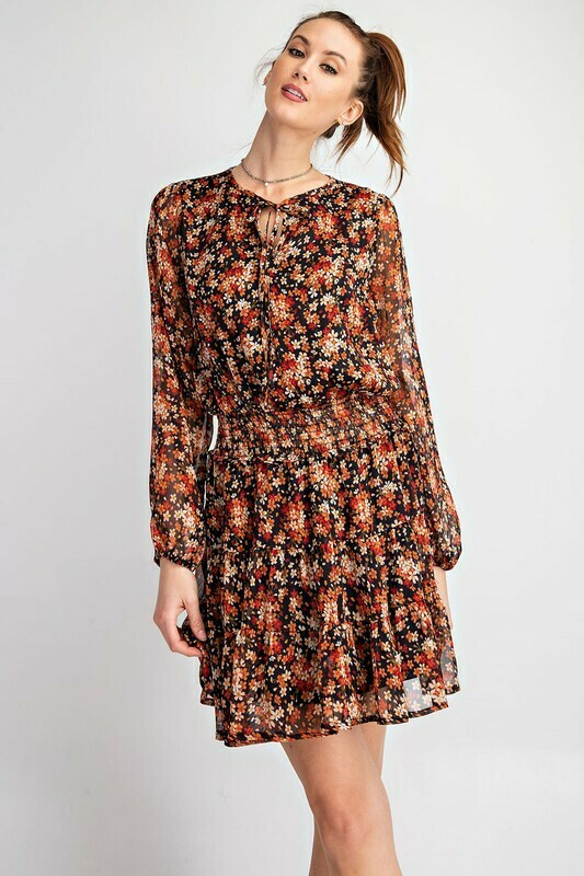 Printed Chiffon Smock Dress