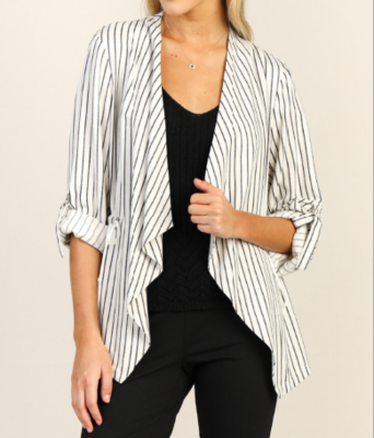 Draped Front Striped Jacket