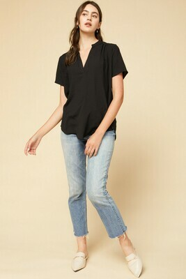 Audrey Black V-Neck Short Sleeve Top