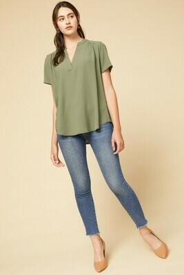 Audrey Olive V-Neck Short Sleeve Top