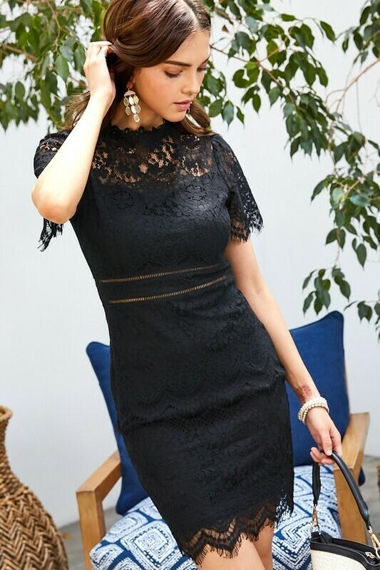 Eva Black Lace Scalloped Edge Dress