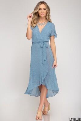 Blue Floral Midi Dress w/Sash