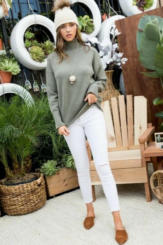 Mia Dark Sage Knit Sweater