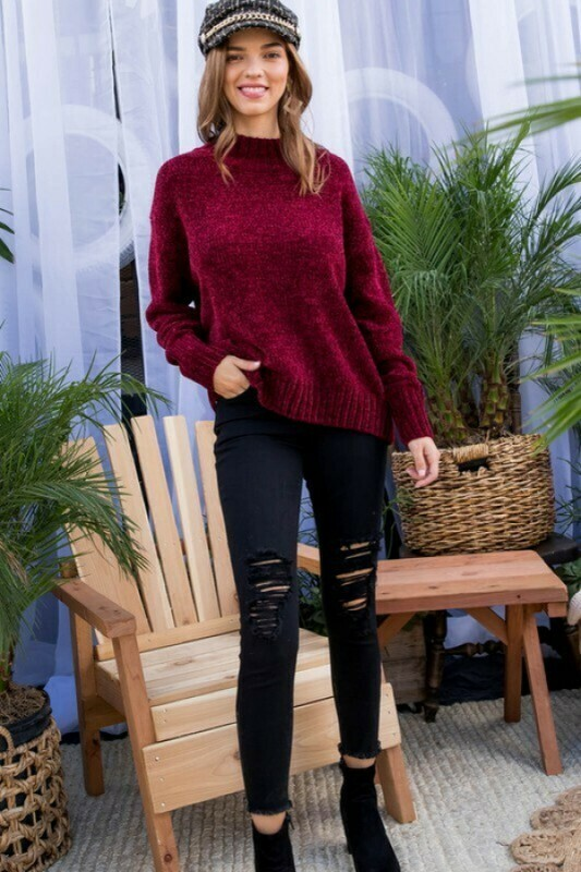 Sophia Burgundy Sweater