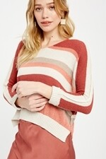 Autumn Multi Stripe Brick/Ivory Sweater