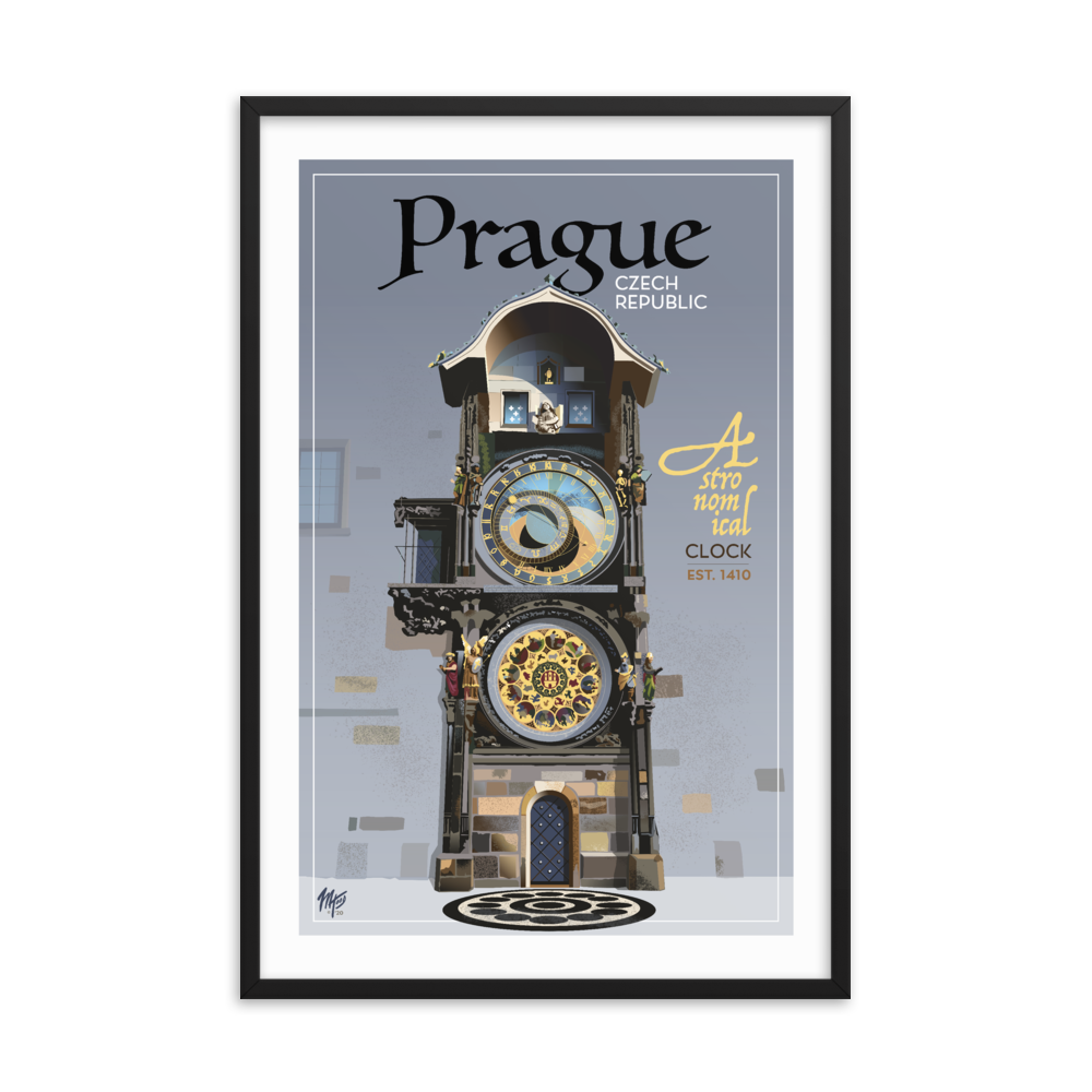 Framed Prague Astronomical Clock