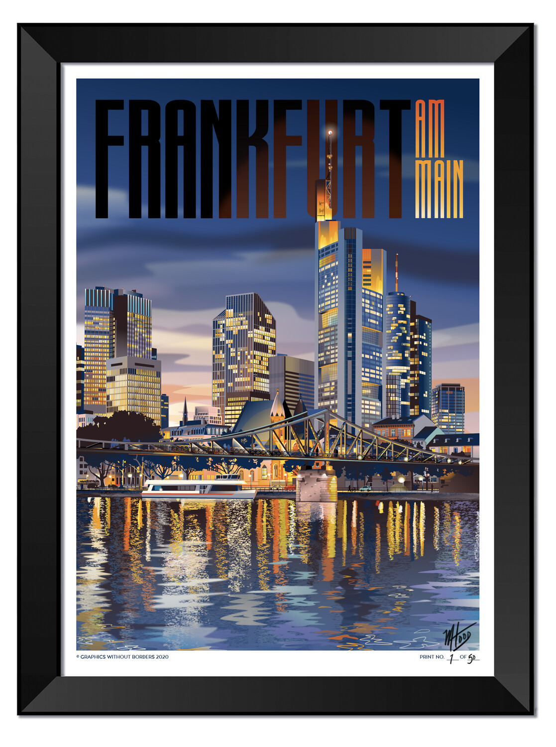 Frankfurt Nightfall - FRAMED