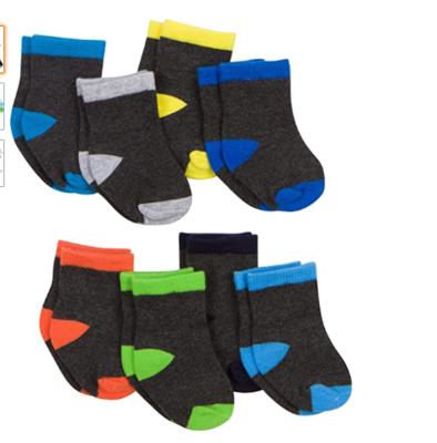 Gerber Baby 8 Pack Snug-fit Crew Sock, Stripes/Solids, 6-12 Months