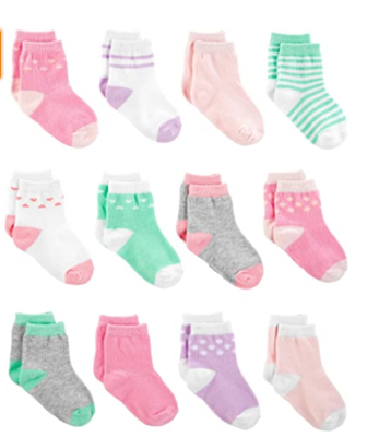 Simple Joys by Carter's Baby Girls' 12-Pack Socks, Pink/Purple/Mint, 0-6 Months