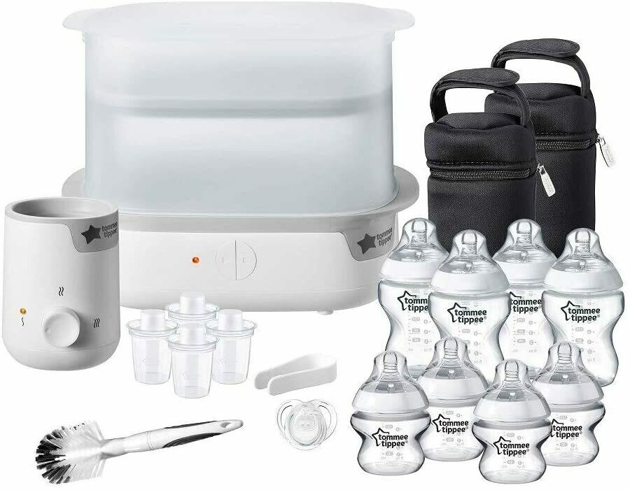 Tommee Tippee Steriliser, Warmer and 8x Bottles Complete Feeding Set, White